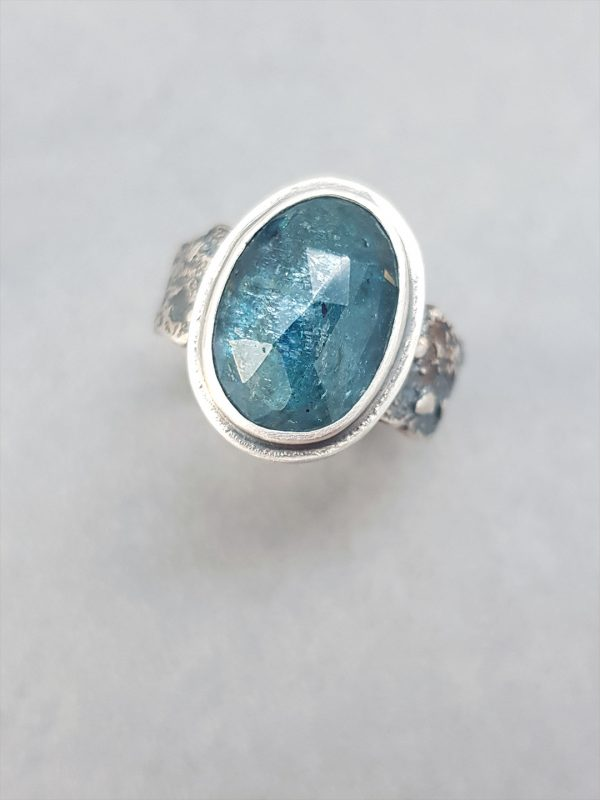 Teal blue Kyanite ring in textured sterling silver