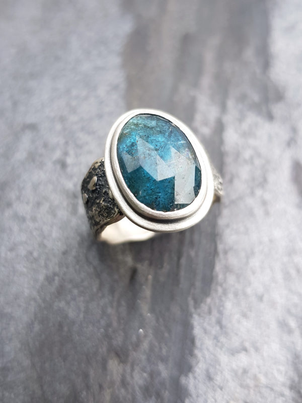 Kyanite and sterling silver ring, handmade in Cornwall
