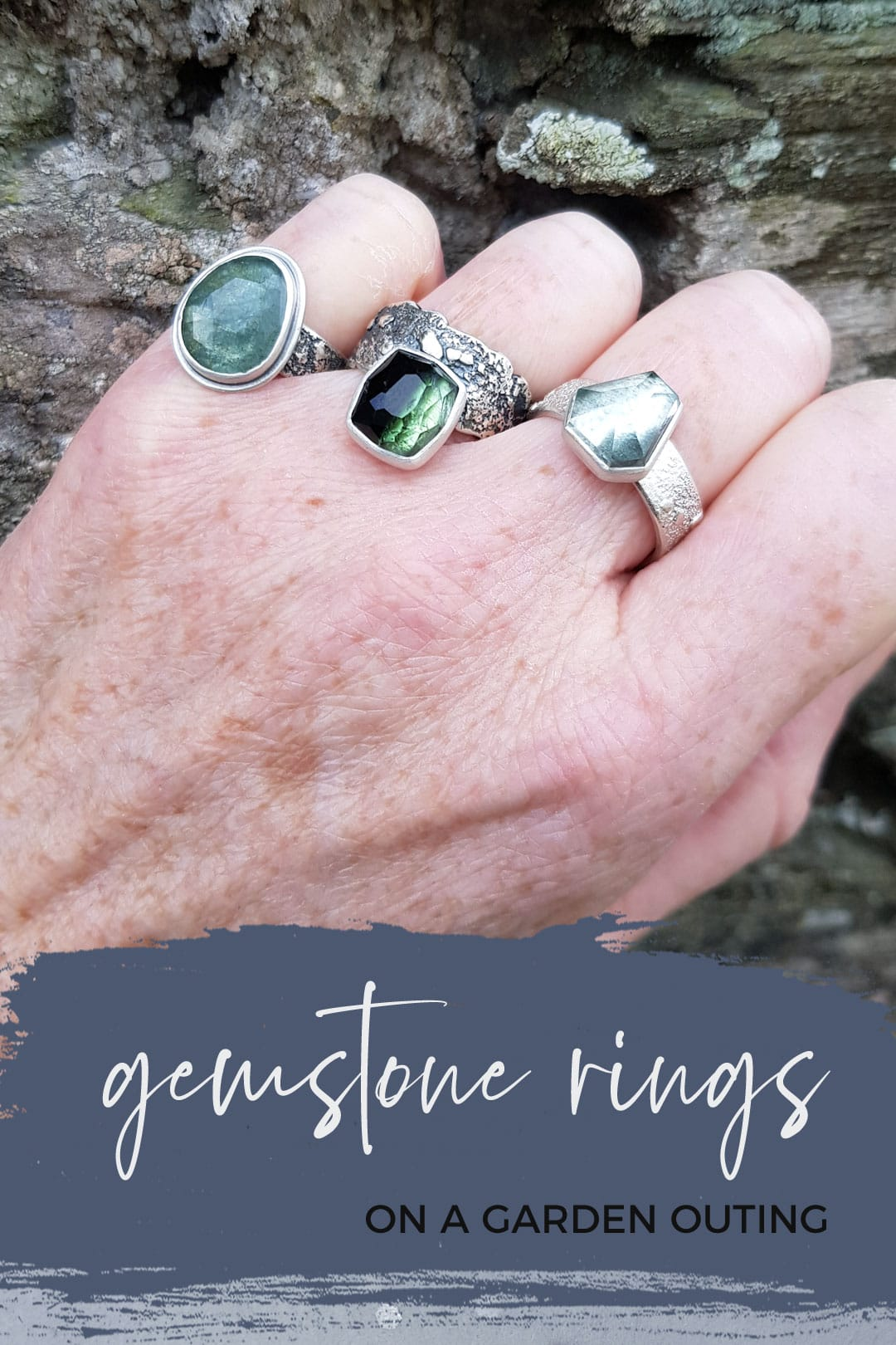 handmade gemstone rings on garden outing