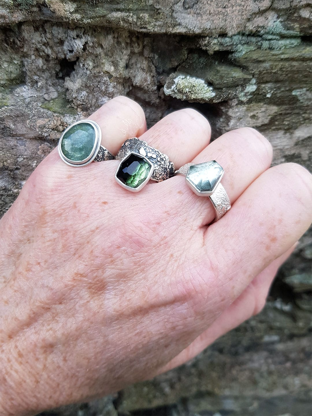 handmade gemstone rings in sterling silver