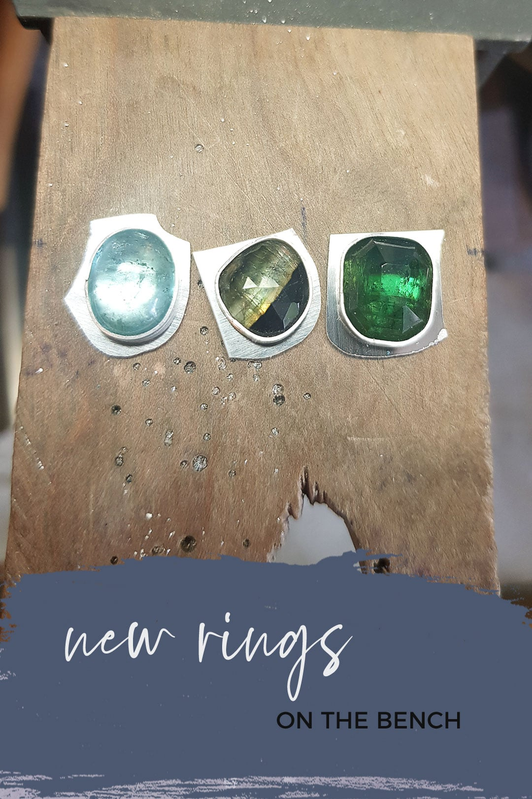 New gemstone and textured silver rings in progress