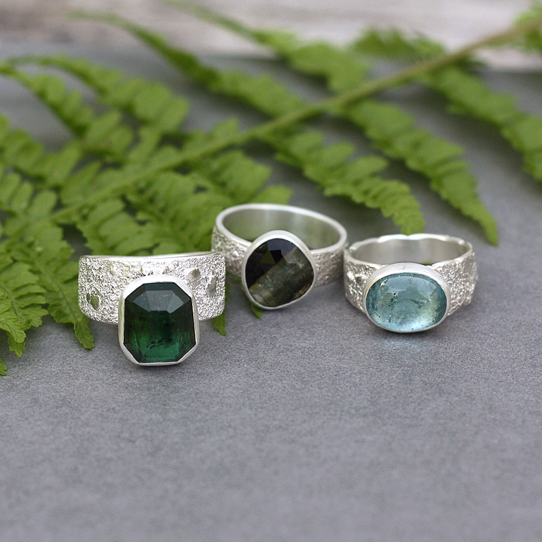Green and blue Tourmaline rings in sterling silver