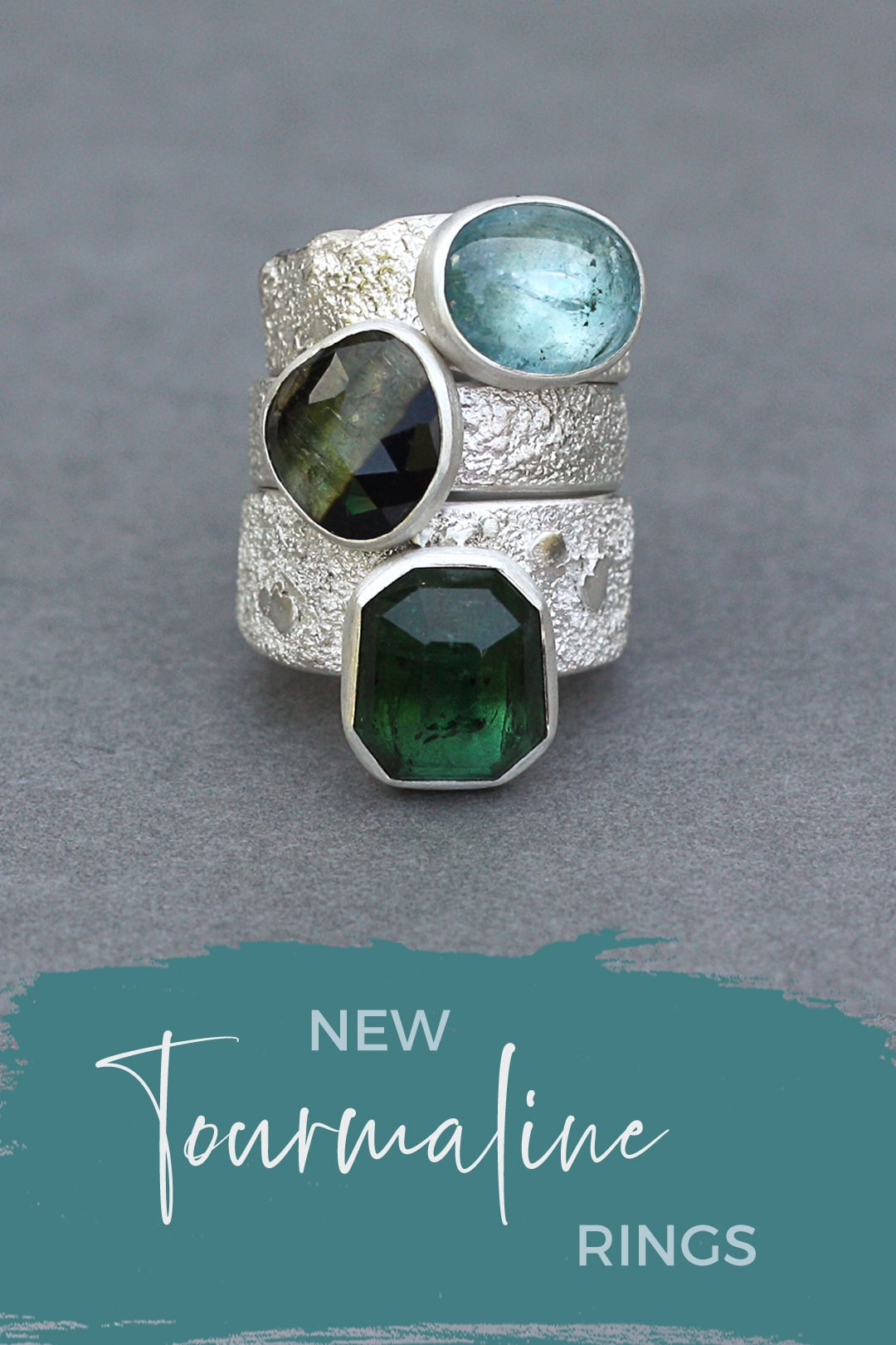 New blue and green tourmaline rings