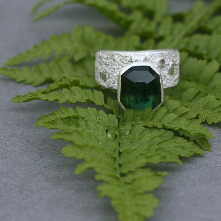Green Tourmaline ring in textured sterling silver
