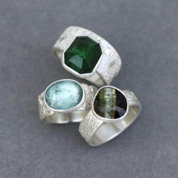 Handmade Tourmaline rings in sterling silver