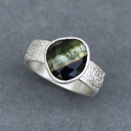 Banded Tourmaline ring in green and brown