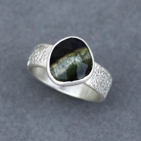 Sterling silver ring with green and brown coloured Tourmaline
