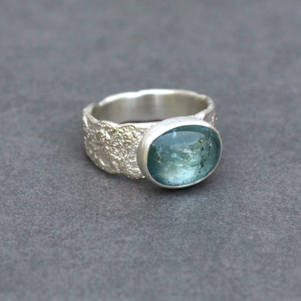 Handmade sterling silver ring with aqua blue Tourmaline
