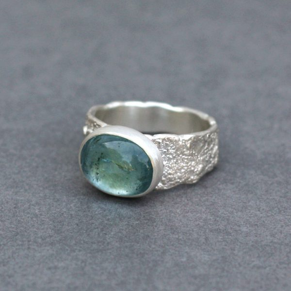 One of a kind blue Tourmaline ring in sterling silver