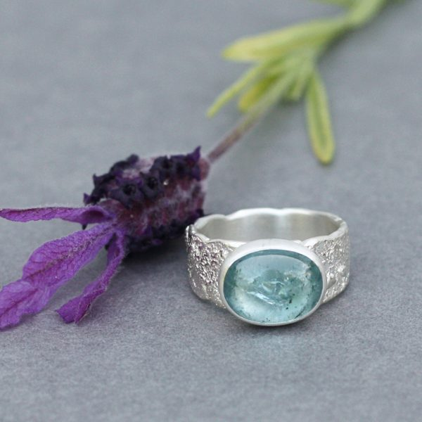 Aqua blue Tourmaline ring in textured sterling silver