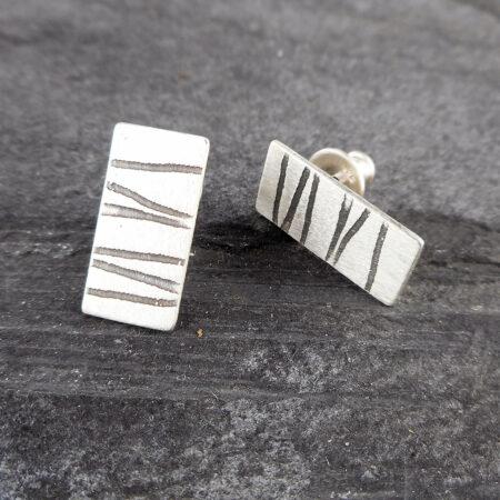 Stripey rectangular silver studs