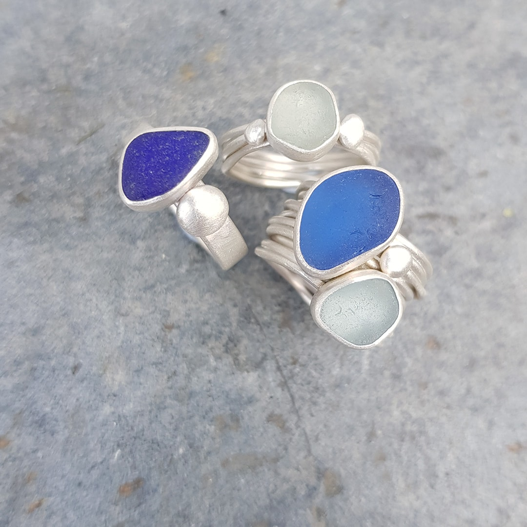One of a kind rings in sterling silver with blue and green beach sea glass