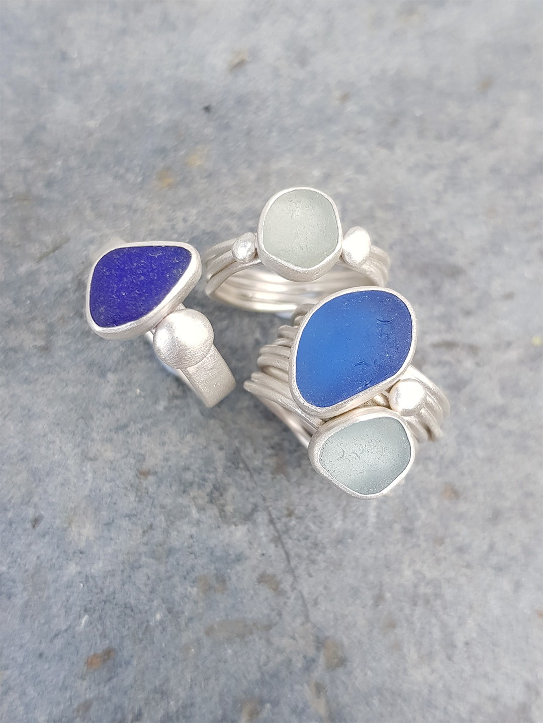 Blue sea glass and sterling silver rings