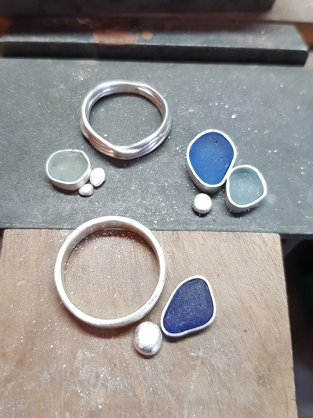 Sea glass and silver on the bench, ready to start making rings