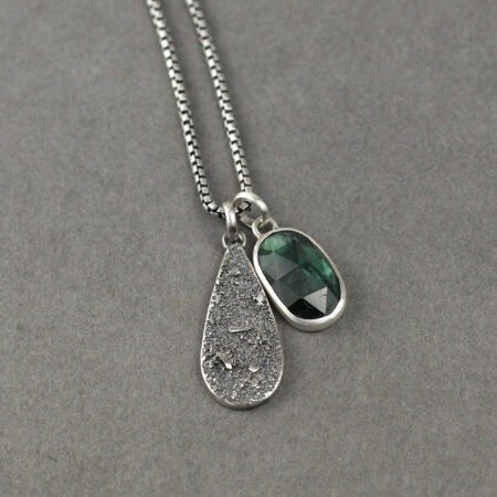 Teal blue Tourmaline pendant necklace in sterling silver