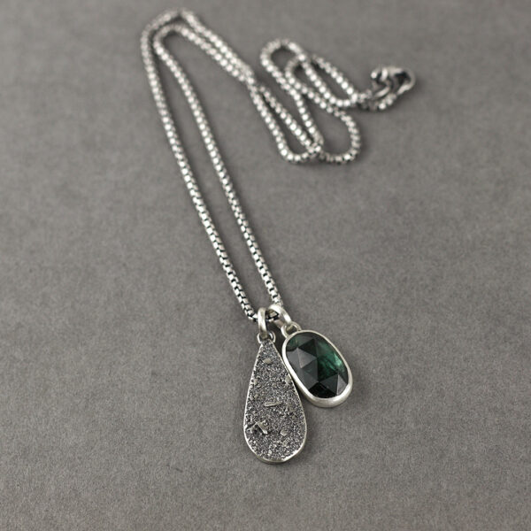 Handmade sterling silver and teal blue Tourmaline pendants