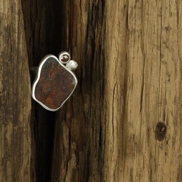 One of a kind sterling silver ring with beach rock and diamond