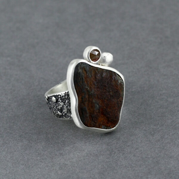 Diamond and beach rock ring in textured sterling silver