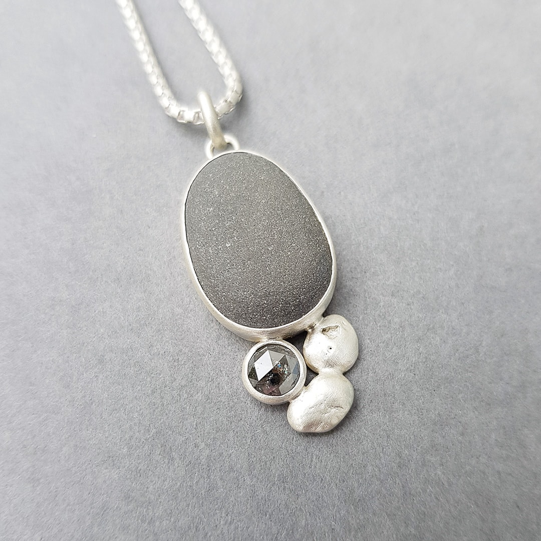Beach pebble, diamond and recycled sterling silver pendant
