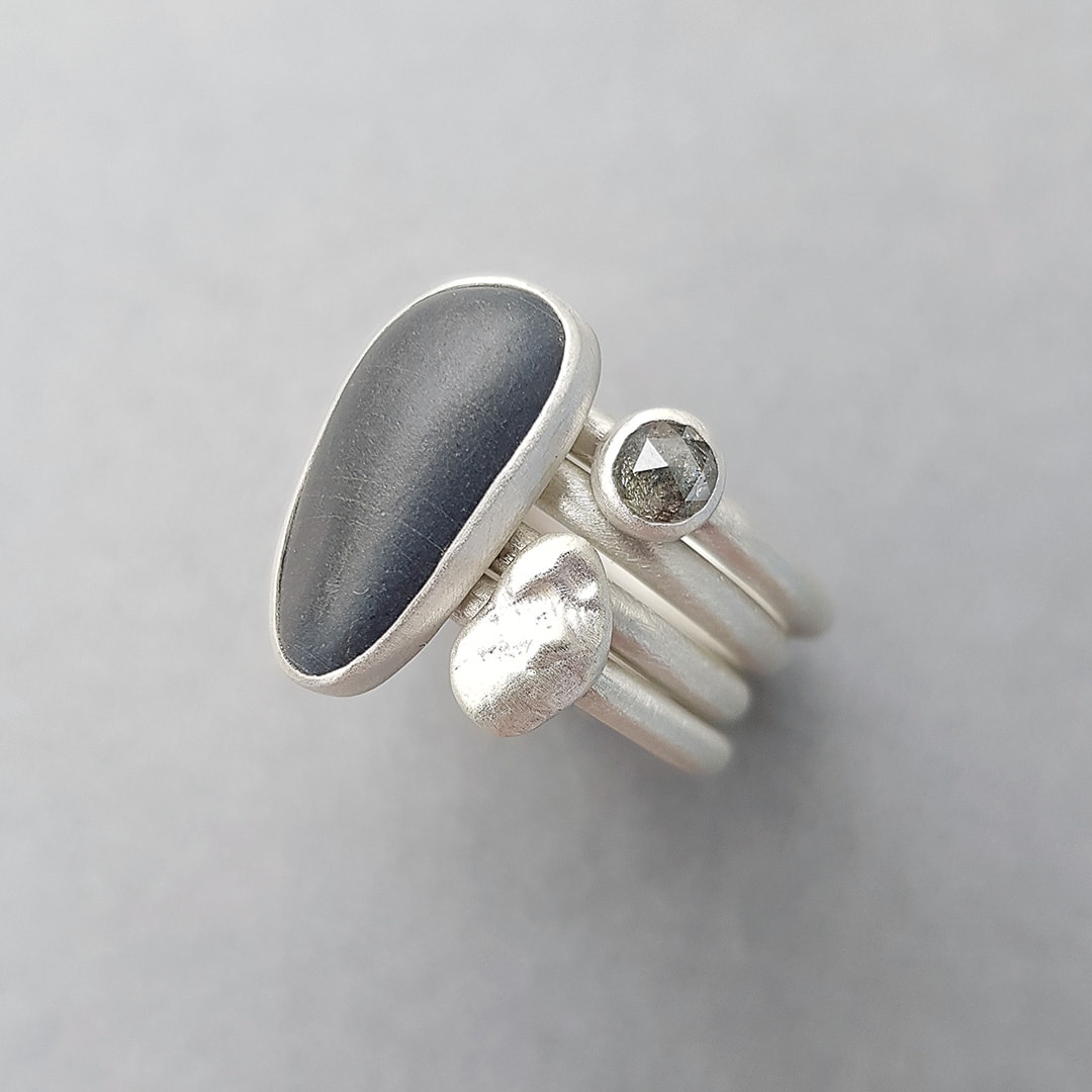 Beach pebble, diamond and recycled sterling silver stacking rings
