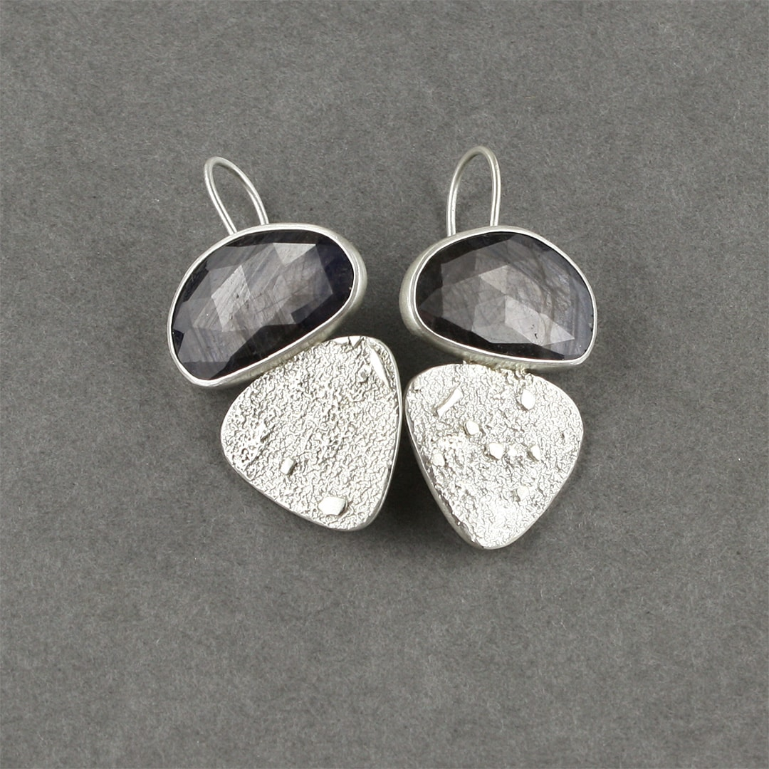 Grey blue sapphire and textured sterling silver earrings