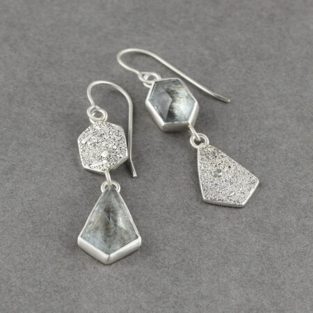 Aquamarine drop earrings with geometric cuts and textured sterling silver