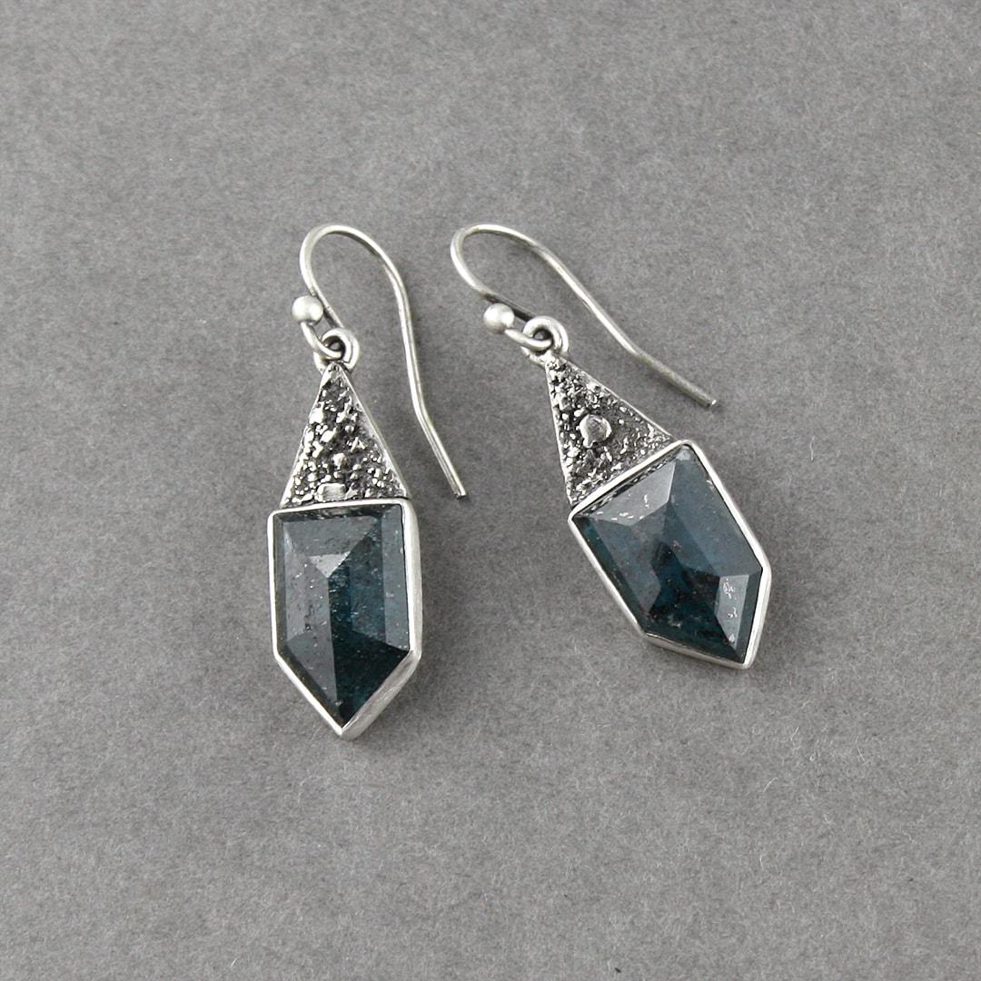 Geometric cut Kyanite and textured sterling silver drop earrings
