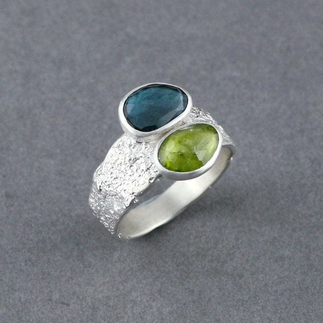 Peridot and London blue Topaz ring in textured sterling silver