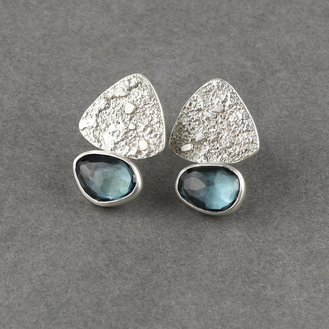 London blue Topaz stud earrings with textured sterling silver