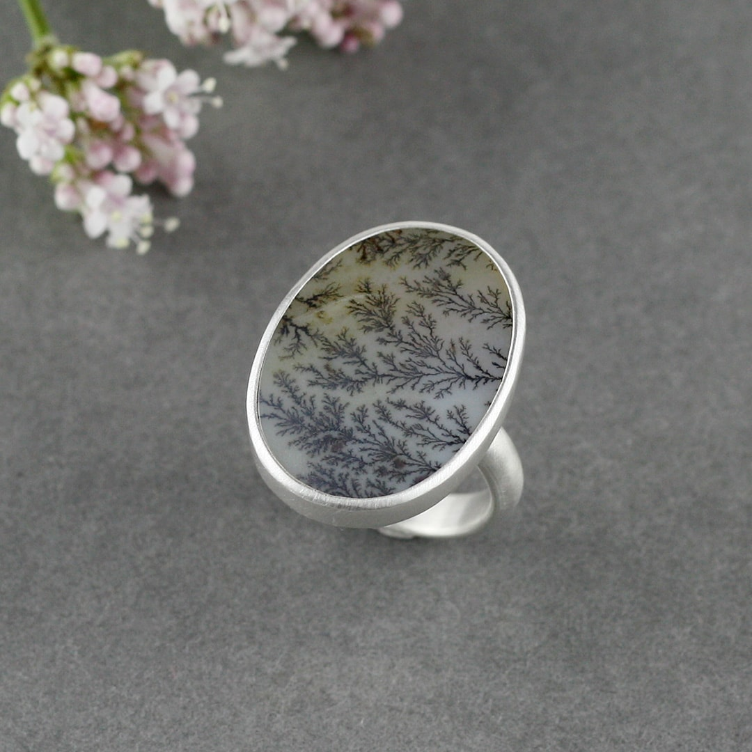 Handmade dendritic agate and sterling silver ring commission