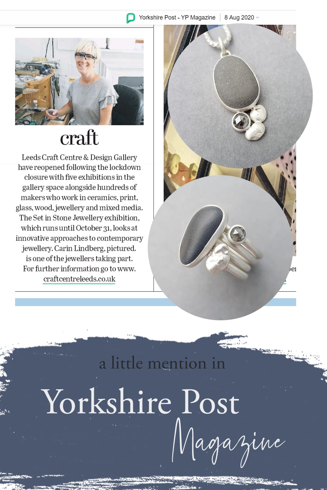 Carin Lindberg Jewellery mentioned in Yorkshire Post Magazine