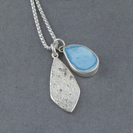 Lavender Turquoise pendant duo with textured sterling silver