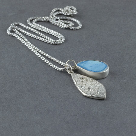 Kazakhstan Turquoise pendant in recycled sterling silver, with textured silver pendant