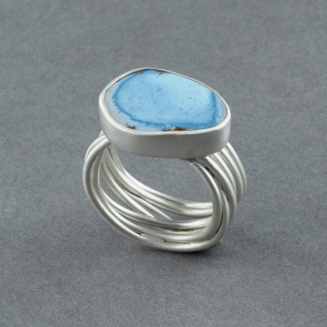 Kazakhstan Turquoise ring in recycled sterling silver