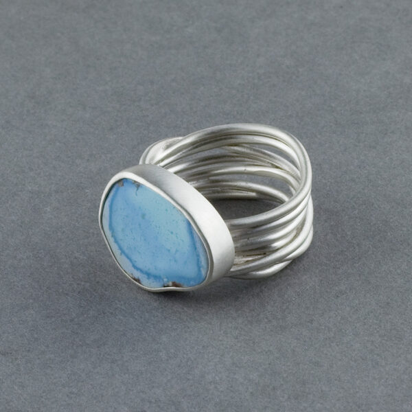 Blue turquoise ring in recycled sterling silver