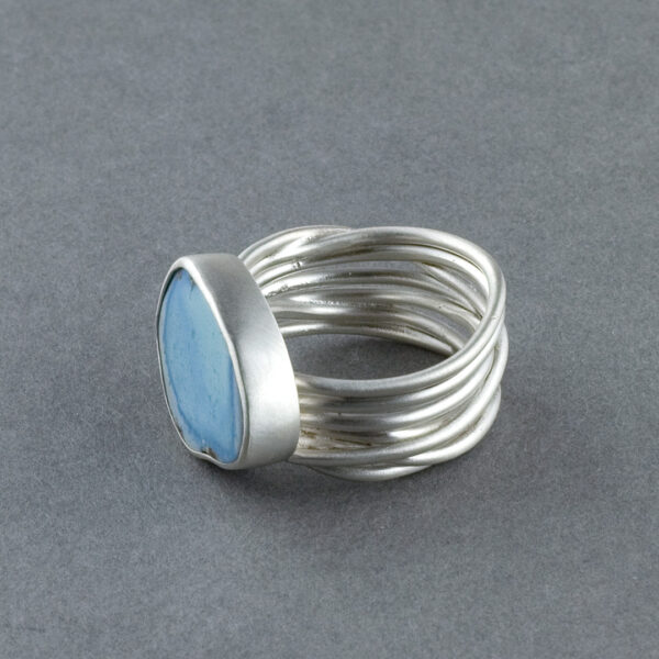 Sideview of handmade turquoise ring