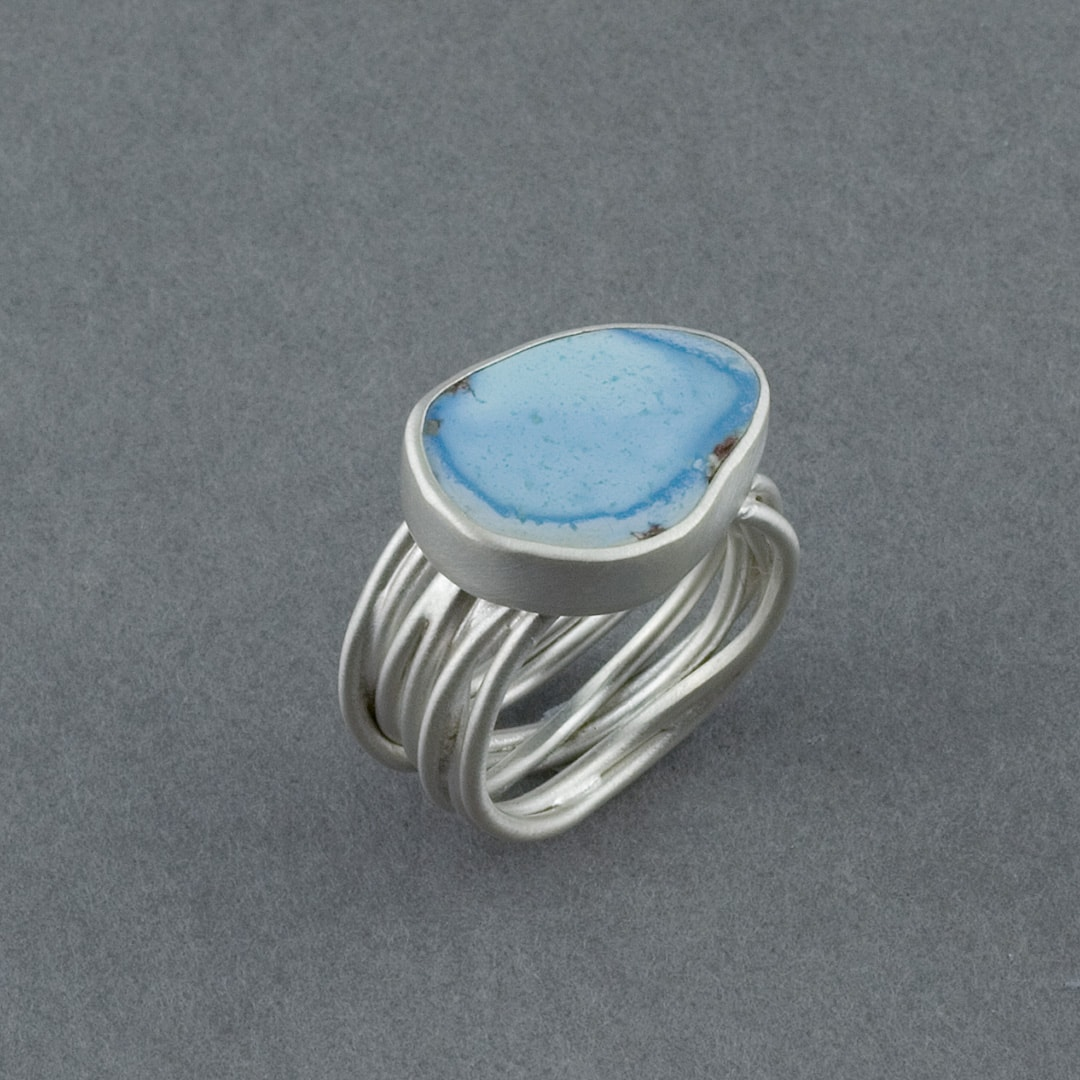 Lavender Turquoise ring in recycled sterling silver
