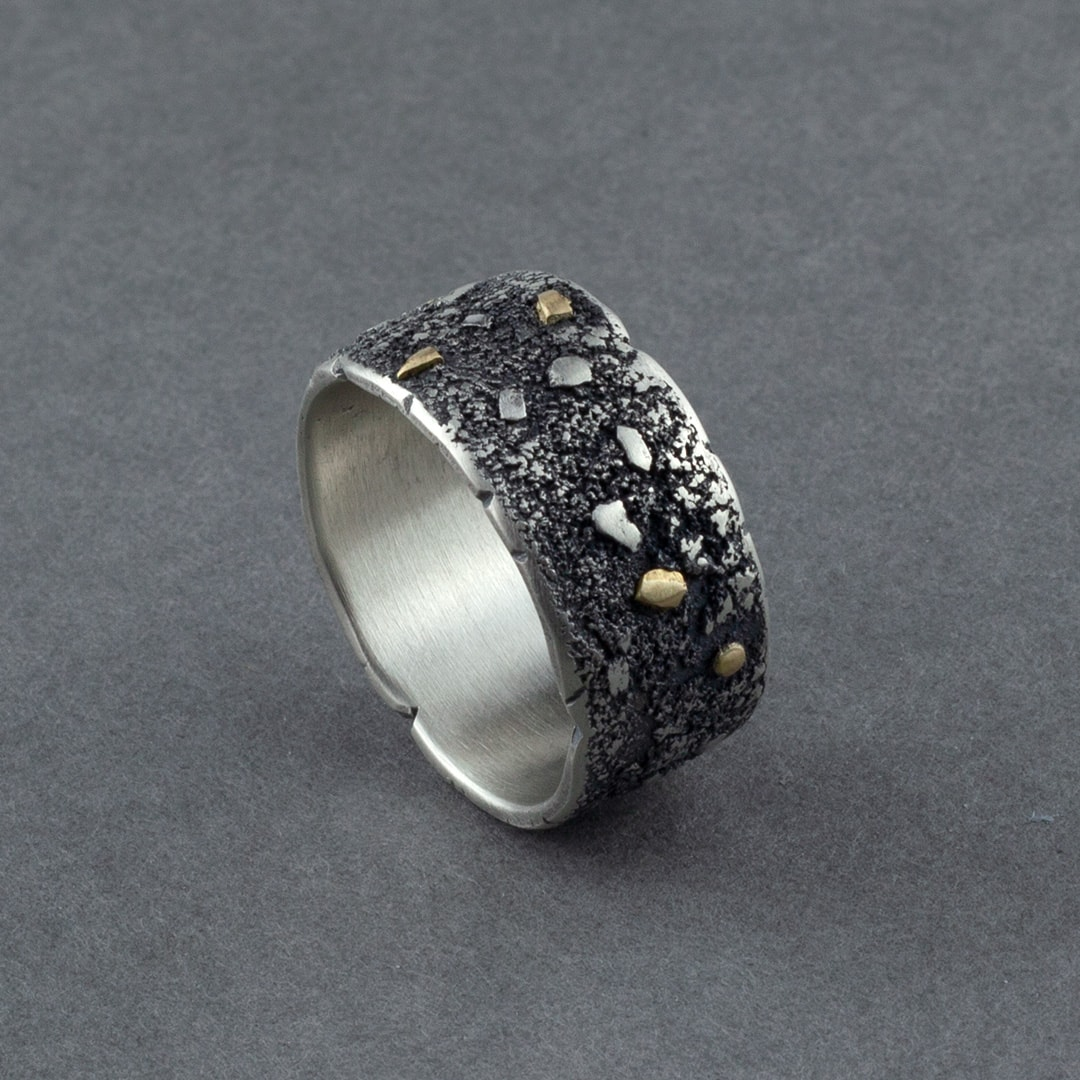 Men's wide band ring in textured, recycled sterling silver and 18 ct gold