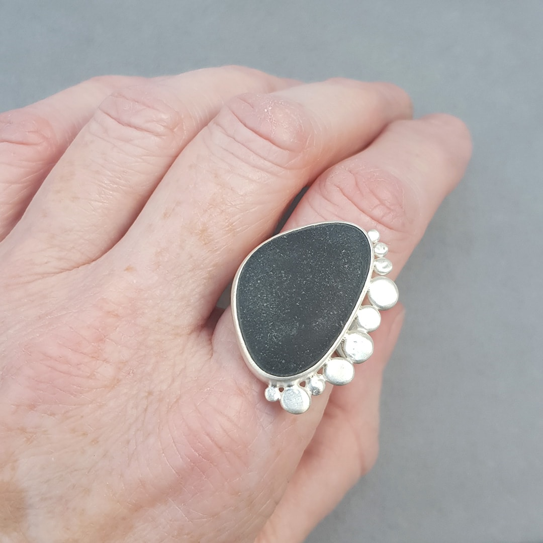 Statement beach pebble ring in brushed sterling silver
