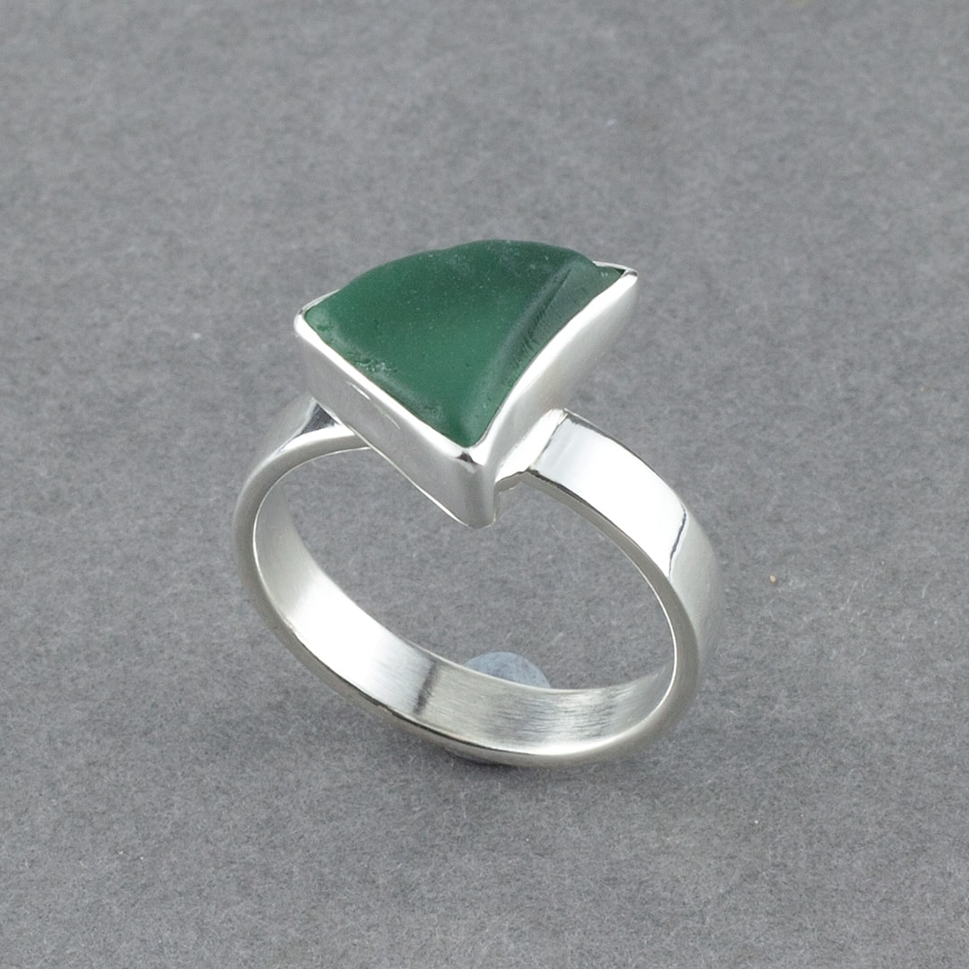 Sea glass and sterling silver ring commission