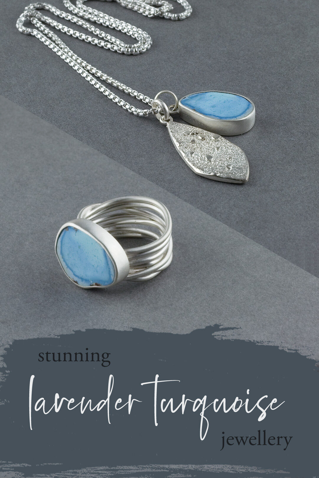 Lavender turquoise jewellery; ring and pendant