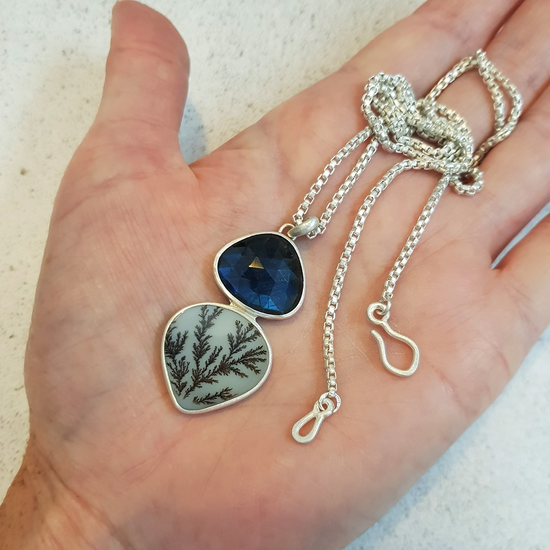 Dendritic Agate and Labraodrite pendant commission in sterling silver