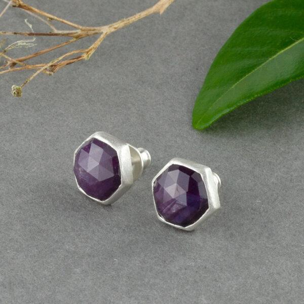Star Ruby stud earrings in recycled sterling silver