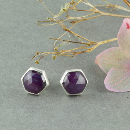 Handmade stud earrings in sterling silver and star Ruby