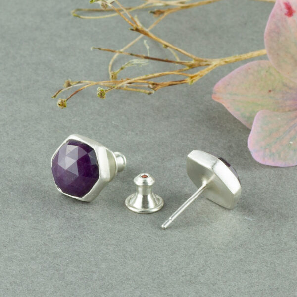 Sterling silver stud earrings with star Ruby gemstone