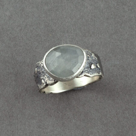 Grey Sapphire ring in recycled textured sterling silver
