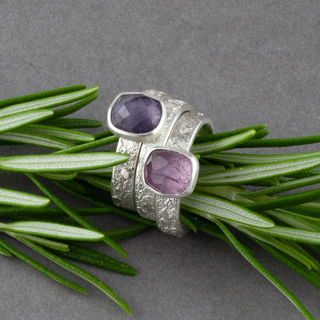 Pink and purple Tourmaline gemstone rings in textured recycled silver