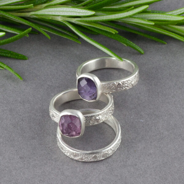 Ring stack with pink and purple Tourmaline