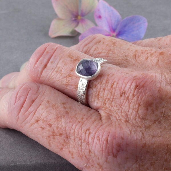 Purple Tourmaline gemstone rings in textured recycled silver