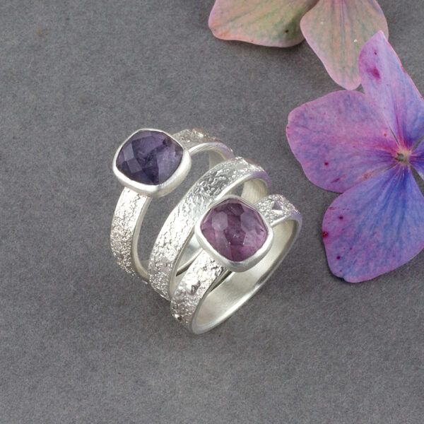 Stacking rings in sterling silver with pink and purple Tourmaline